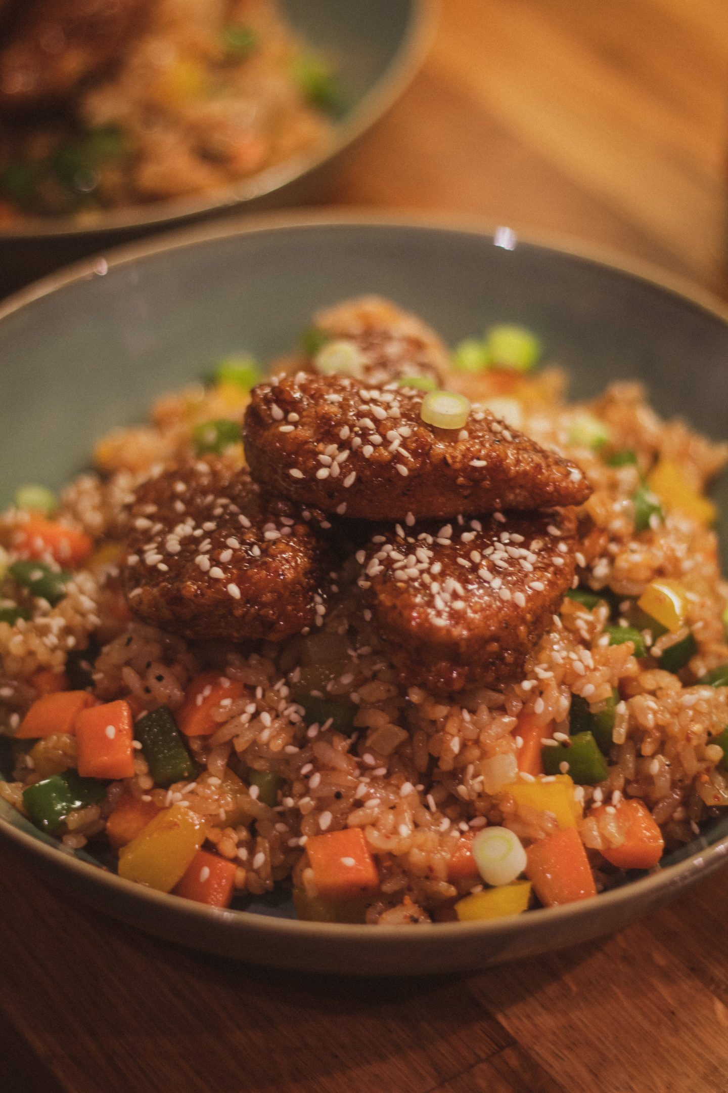 Vegetarian Sticky Korean 'Chicken' with Vegetable Firecracker Rice | RECIPE